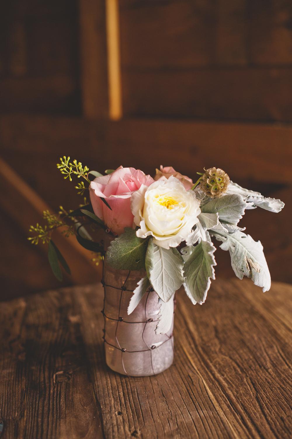 White Pink Wedding Centerpiece