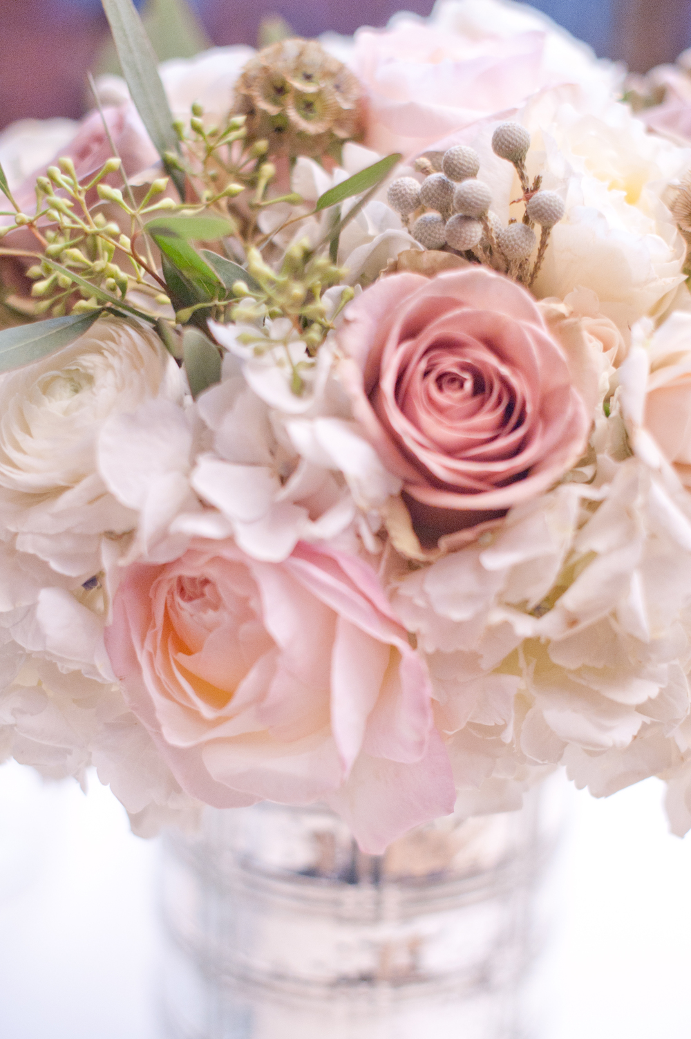 Pink White Wedding Centerpiece Closeup