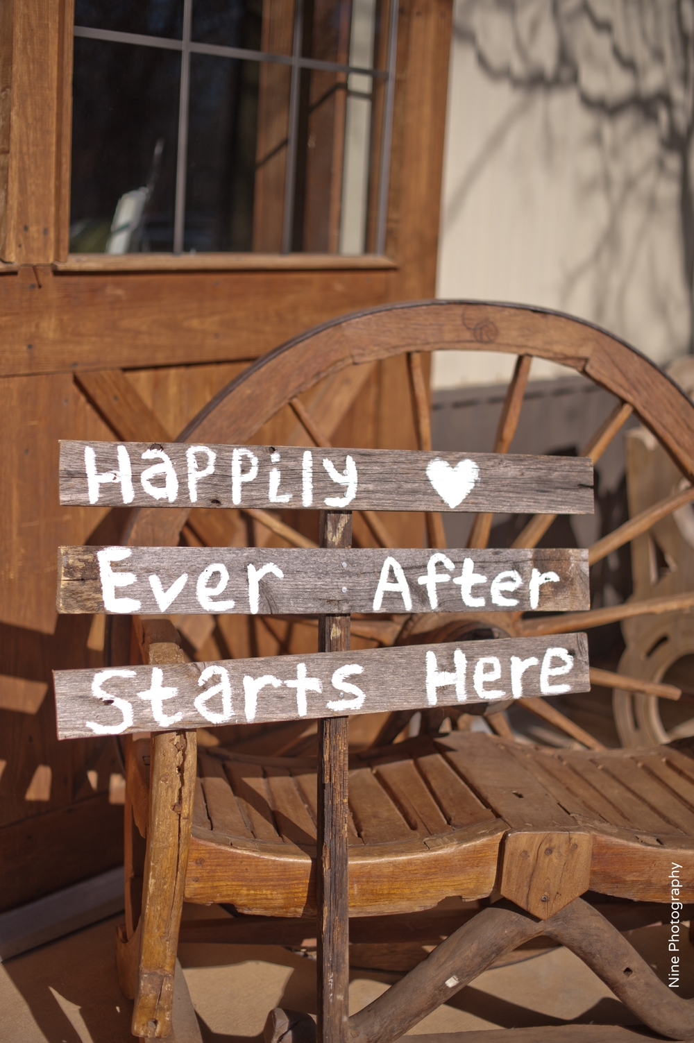 Rustic Happily Ever After Starts Here sign