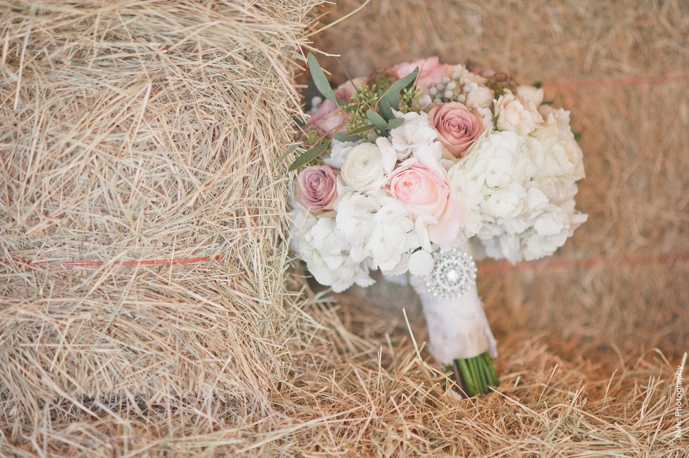 White pink, greenery rhinestone brooch bridal bouquet