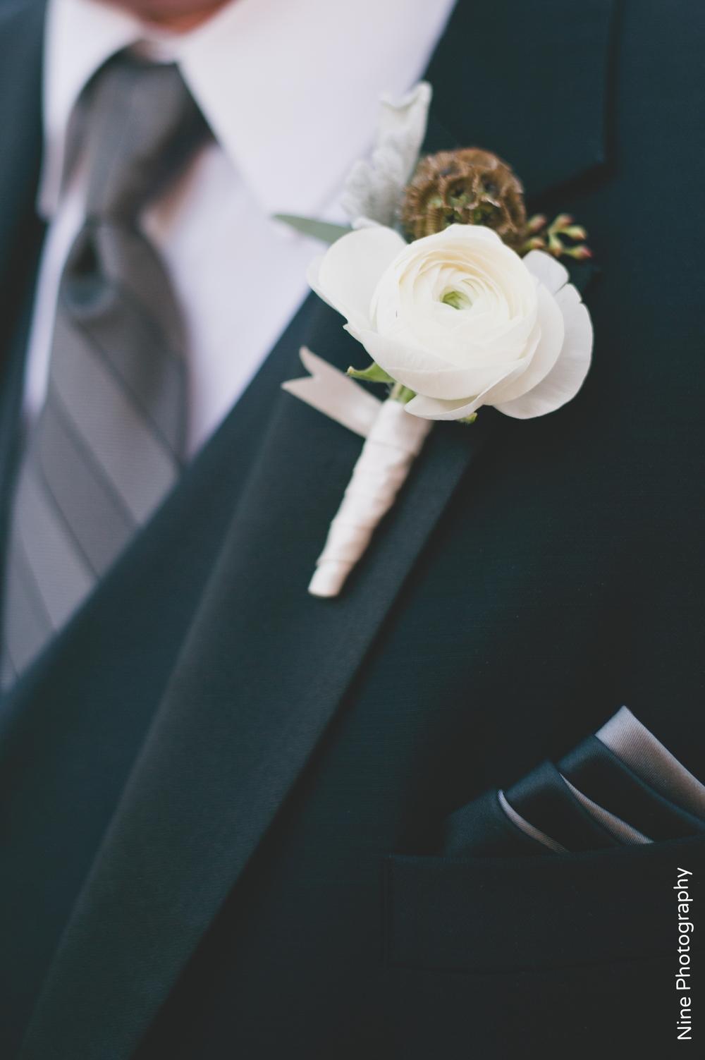 White, scabiosa groom's boutonniere