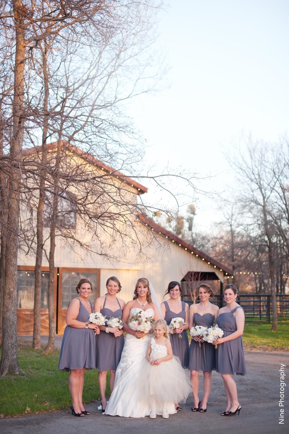 Short purple bridesmaids Classic Oaks Ranch