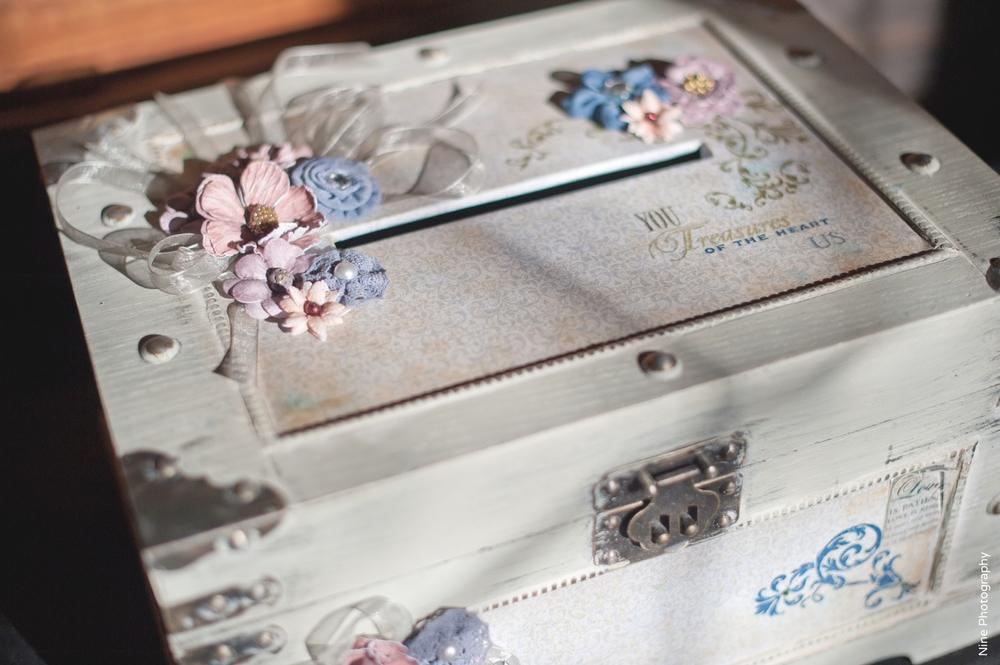 Rustic handmade wedding card box