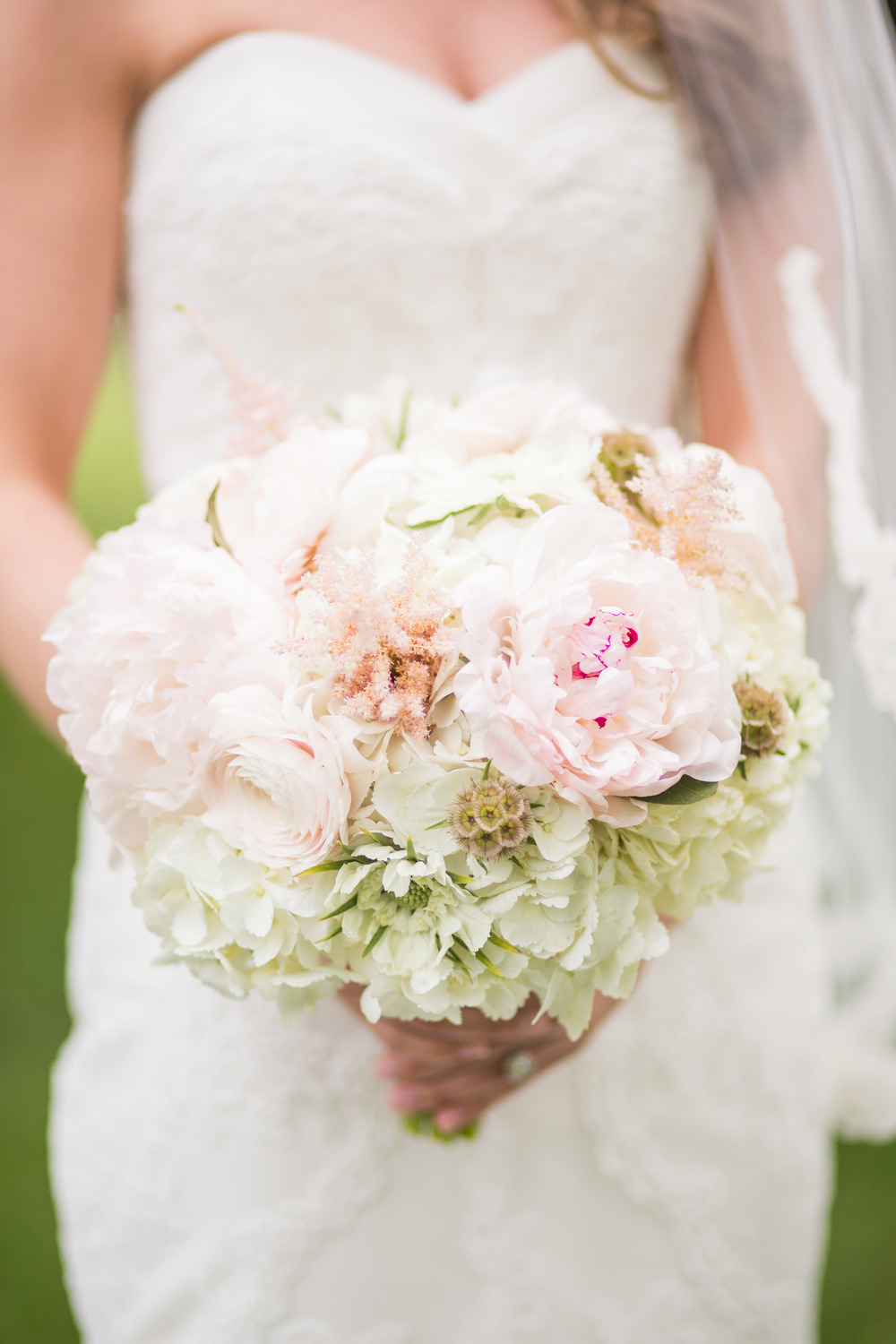 White Green Pink Bridal Bouquet