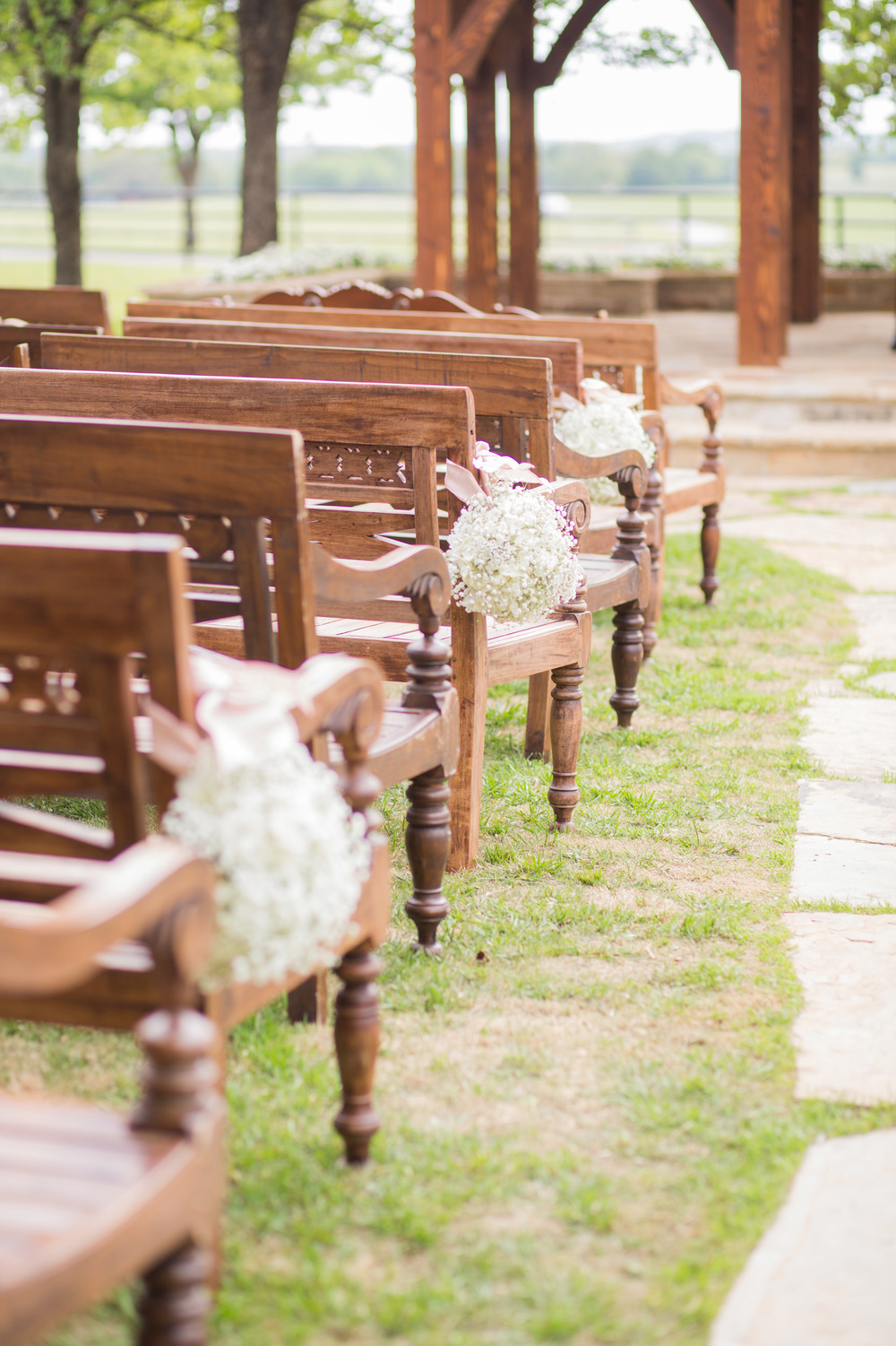 Rustic Wooden Pews Baby's Breath Pew Markers
