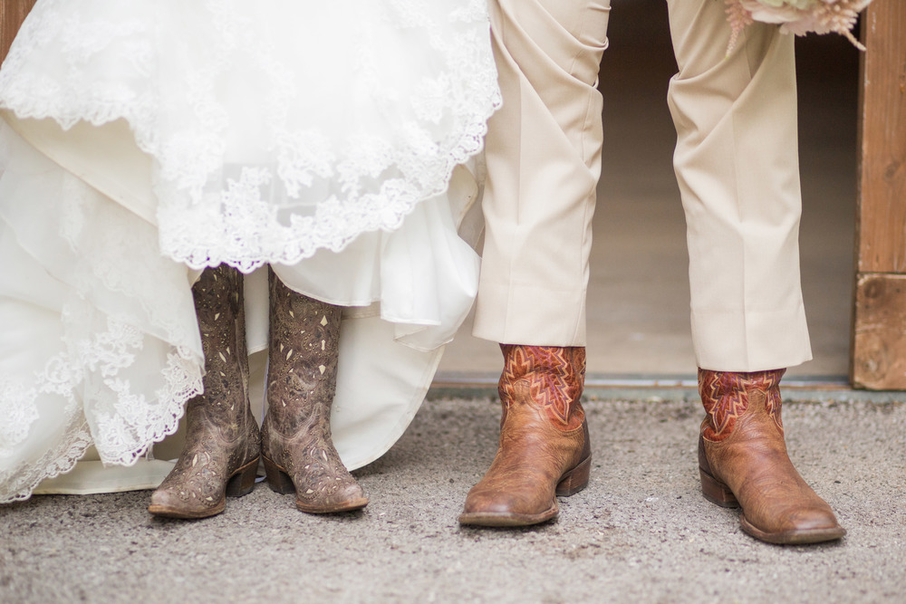 Bride & Groom's boots on wedding day