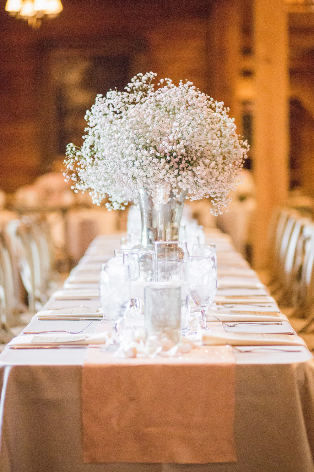 Baby's Breath wedding centerpieces head table