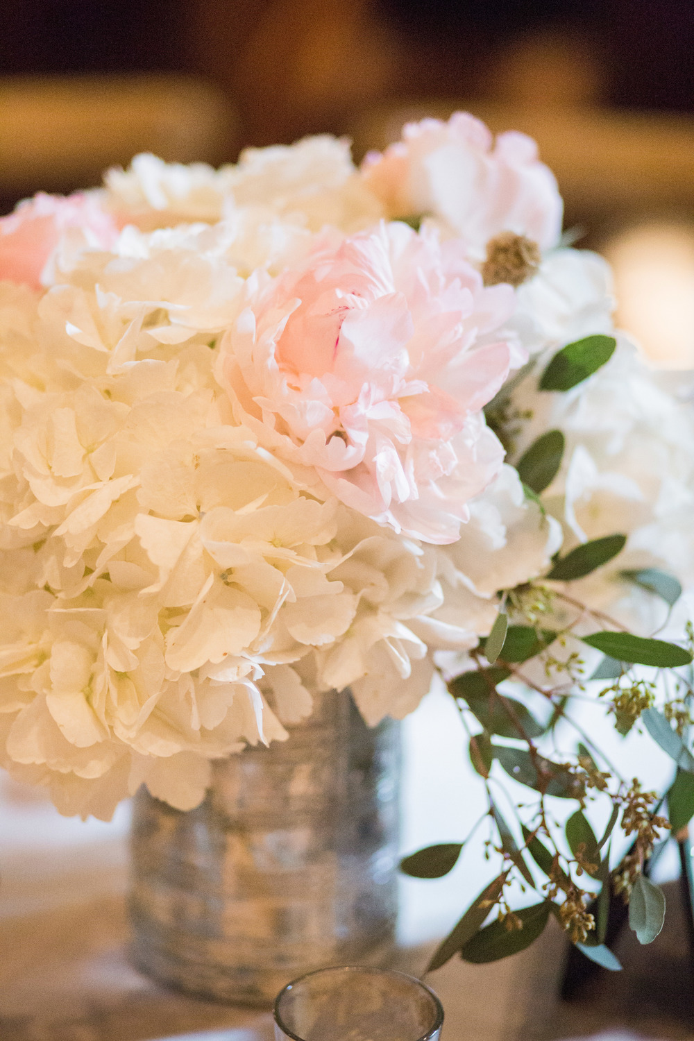 Mercury glass white pink greenery wedding centerpiece