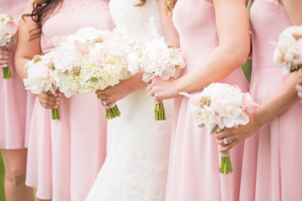 Short pink bridesmaid dresses white and pink bouquets