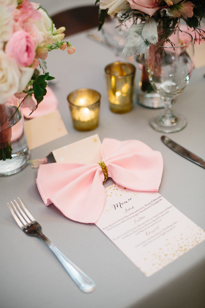 Gray Pink linens and wedding menu