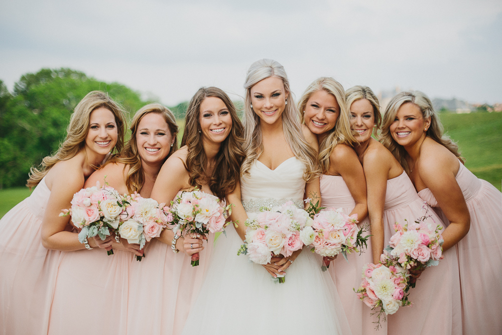 Pink Bridesmaid Dresses and Pink and White Bouquets