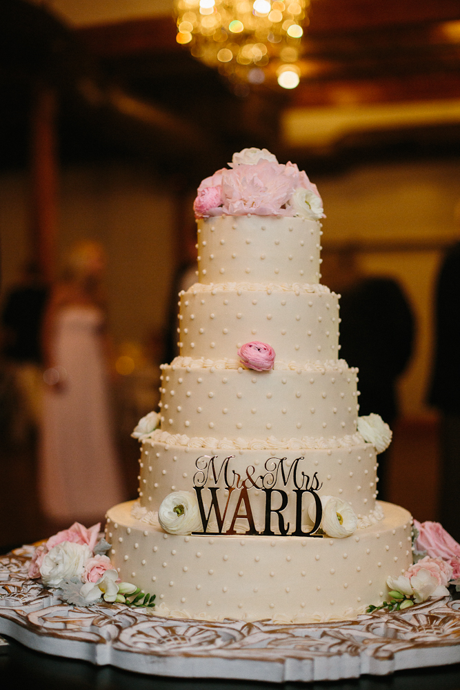 Polka Dot wedding cake gold pink