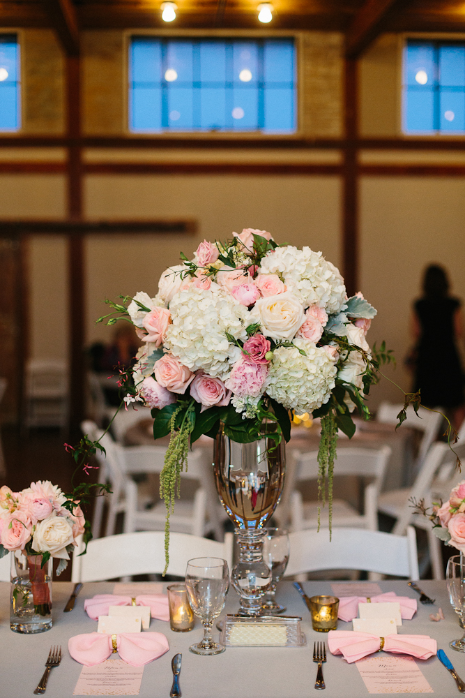 White Pink tall glass wedding centerpiece