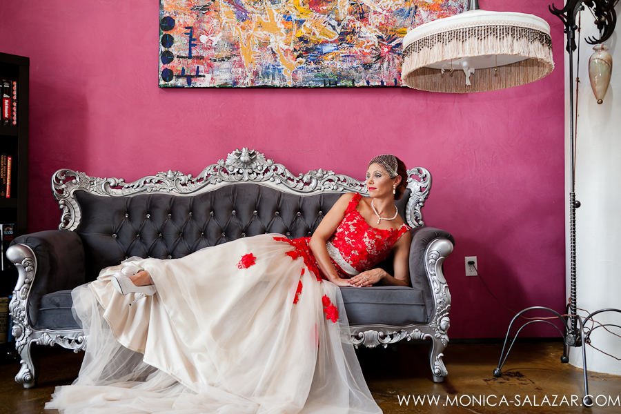 Red Wedding Gown Bride on Vintage Sofa NYLO Dallasa