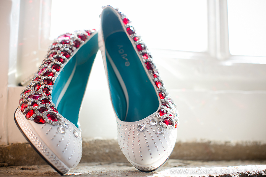 Red Rhinestone Wedding Shoes
