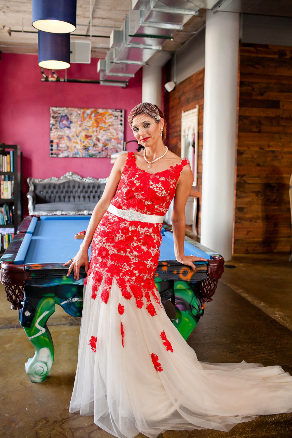 Red Wedding Gown Bride Pool Table NYLO Dallas