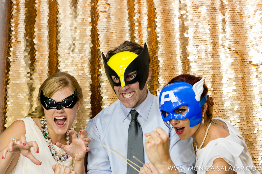 Superhero Gold Sequin Wedding Photobooth