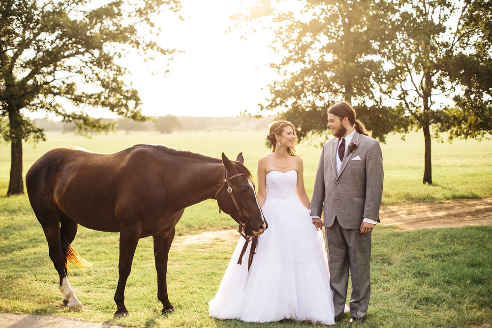 Bride & Groom with Horse - Equestrian Wedding
