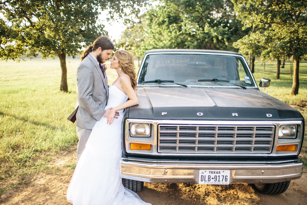 Bride & Groom Old Truck Portrait