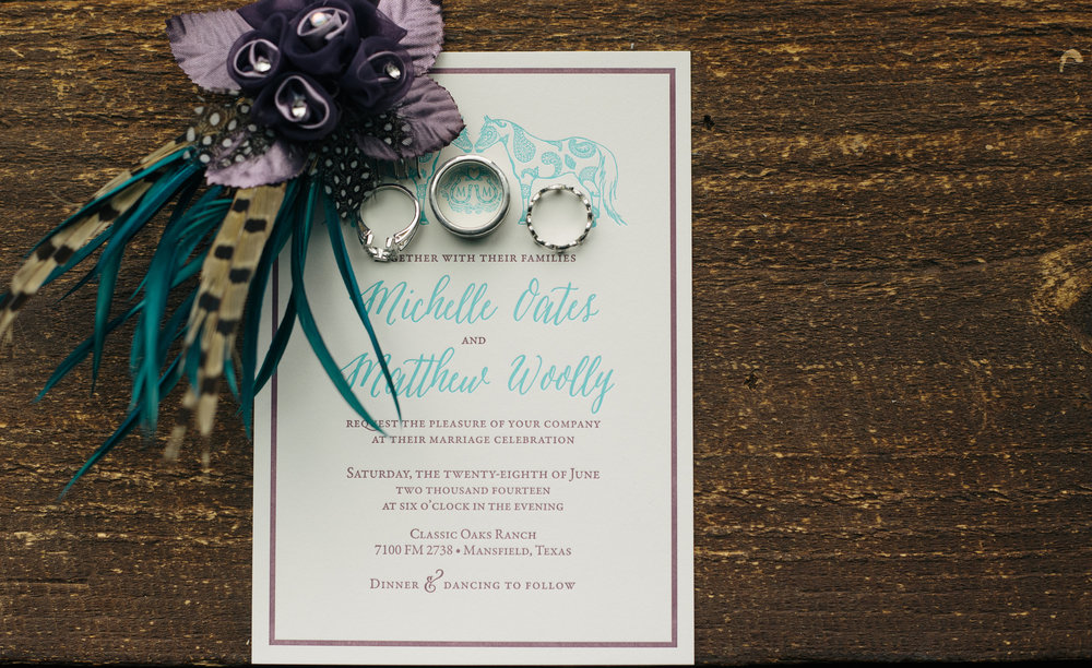 Horseshoe teal and purple wedding invitation from Southern Fried Paper