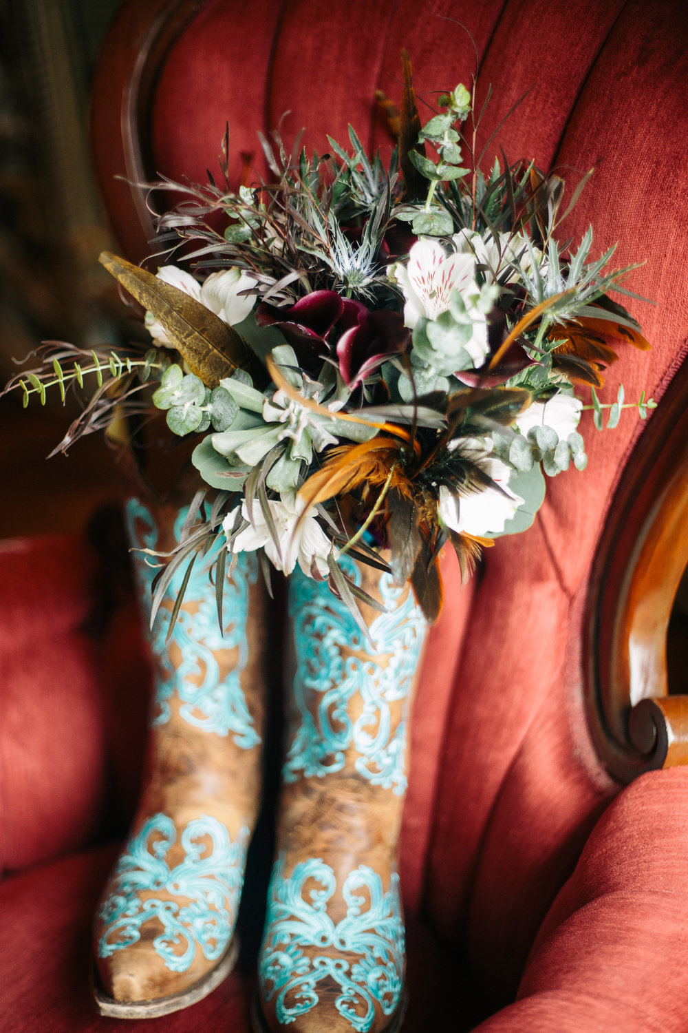 Brown Teal Wedding Boots with Rustic Feather Bridal Bouquet