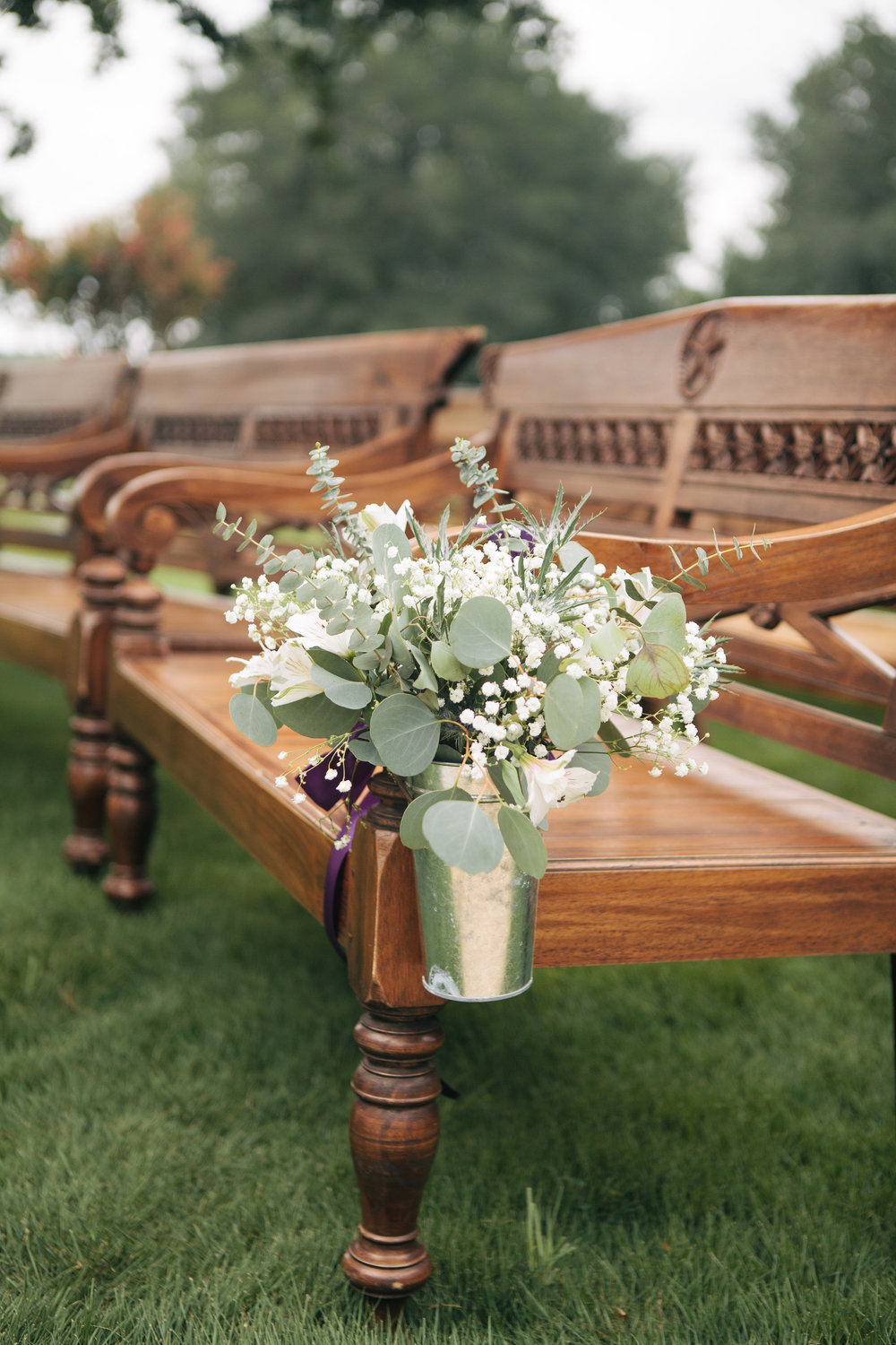 Rustic Wood Pews Galvanized Pail Pew Marker