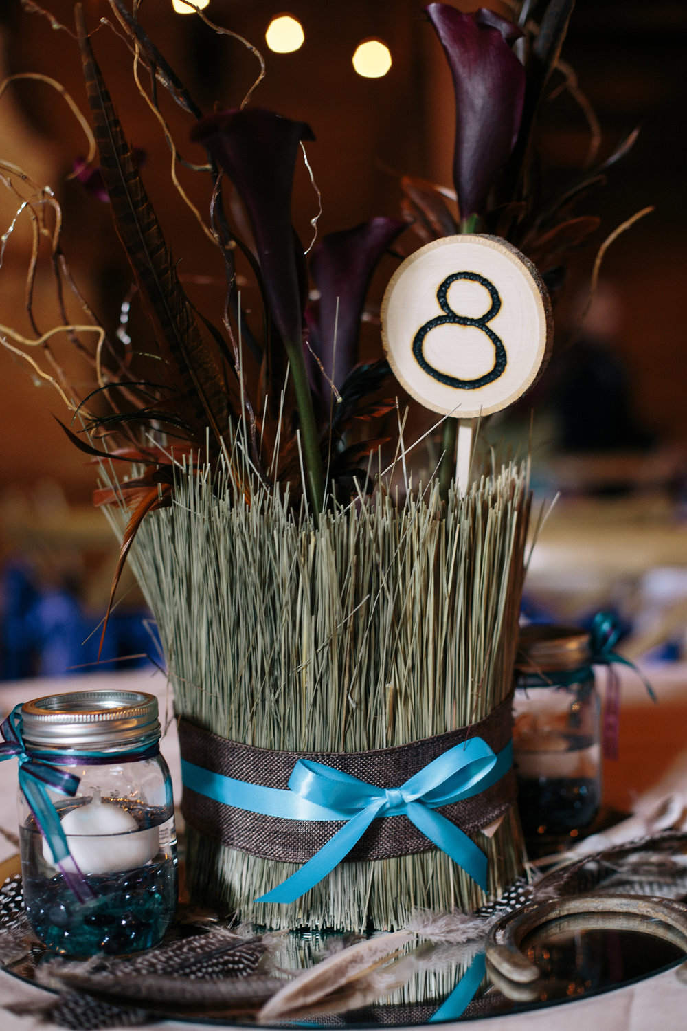 Rustic Horseshoe Feather Brown Teal Mirror Wedding Centerpiece