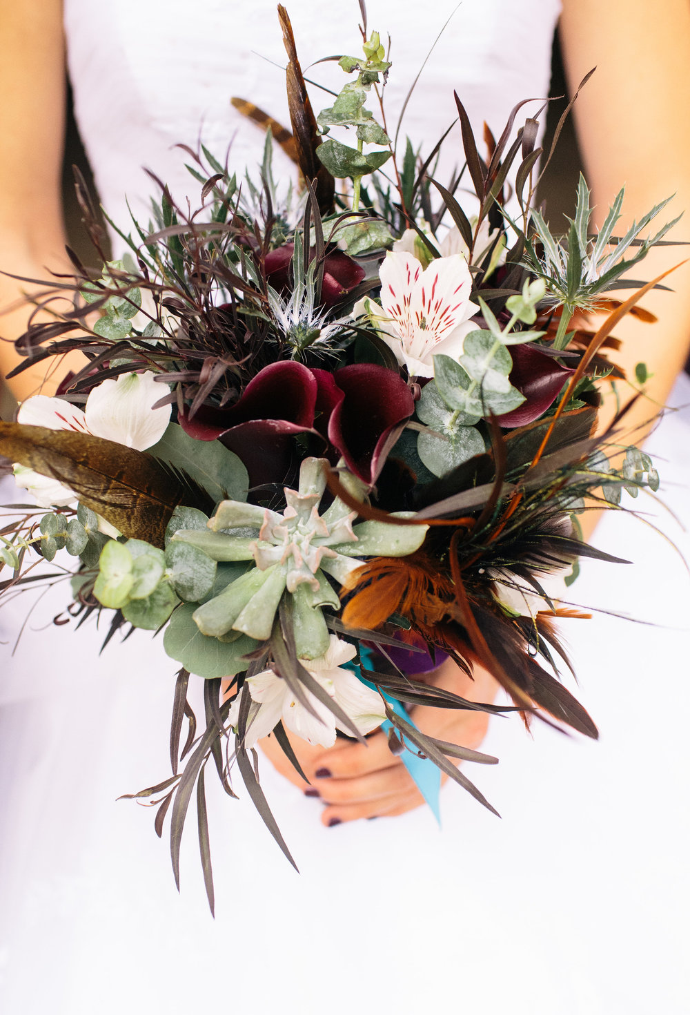Rustic Bohemian Purple Succulent Feather Bridal Bouquet