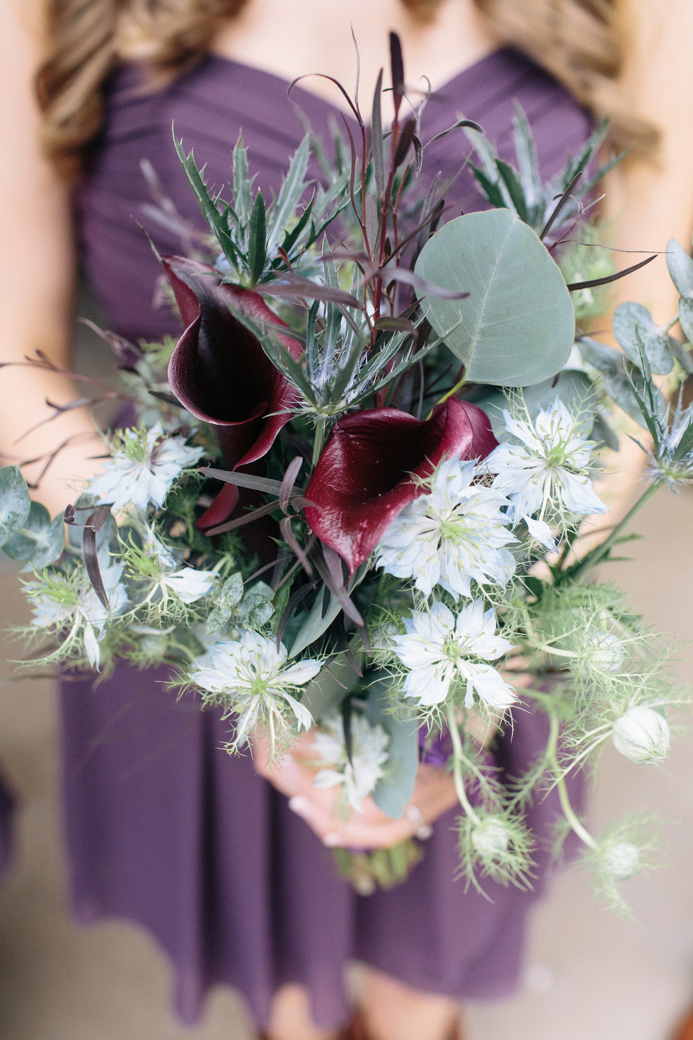 Rustic Bohemian Purple Feather Bridesmaid Bouquet