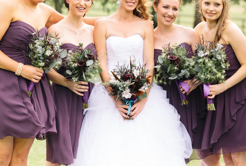 Short Plum Purple Bridesmaid Dresses Rustic Boho Bouquets