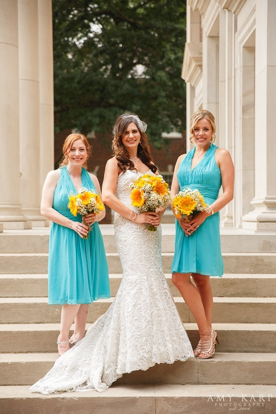 Short Turquoise Bridesmaid Dresses Sunflower Bouquets