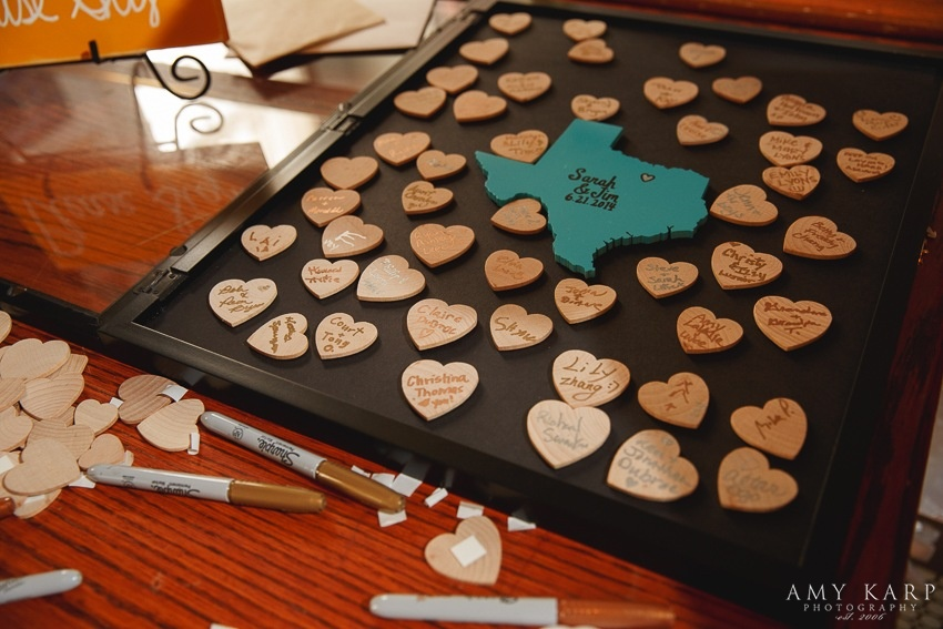 Wooden Texas Heart Wedding Guest Sign-in Frame