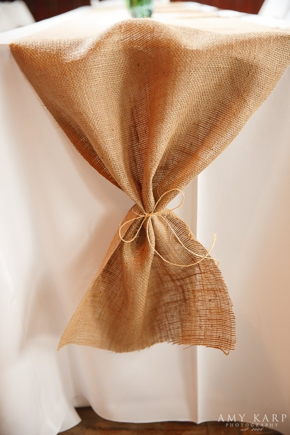 Tied Burlap Table Runner Wedding Reception