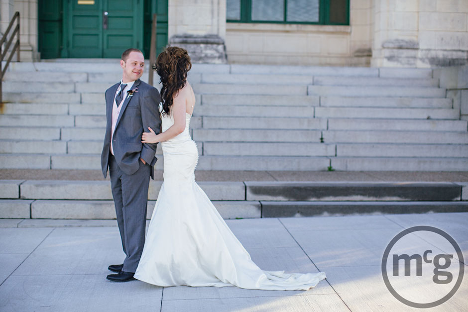 Downtown McKinney Bride & Groom First Look