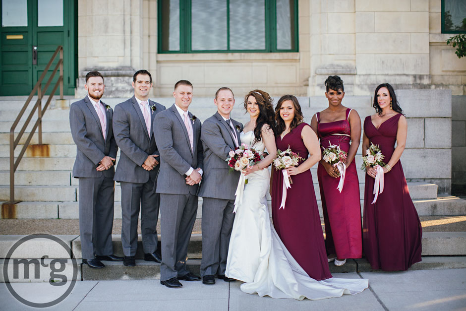 Bridal Party Red Bridesmaid Dresses Gray Suits