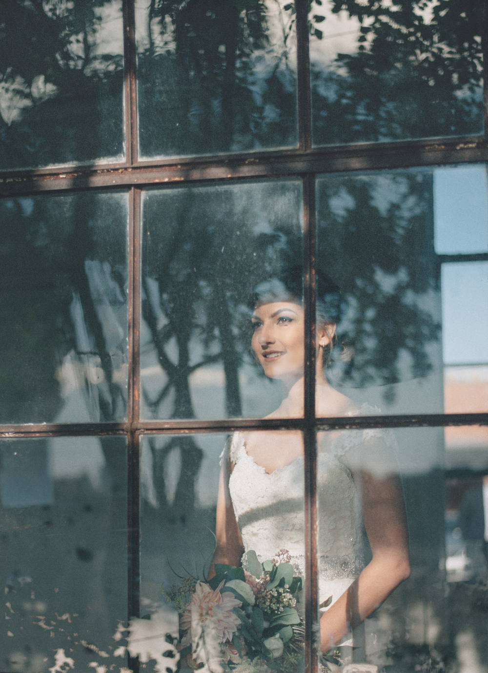Bride Looking out Window Hickory Street Annex