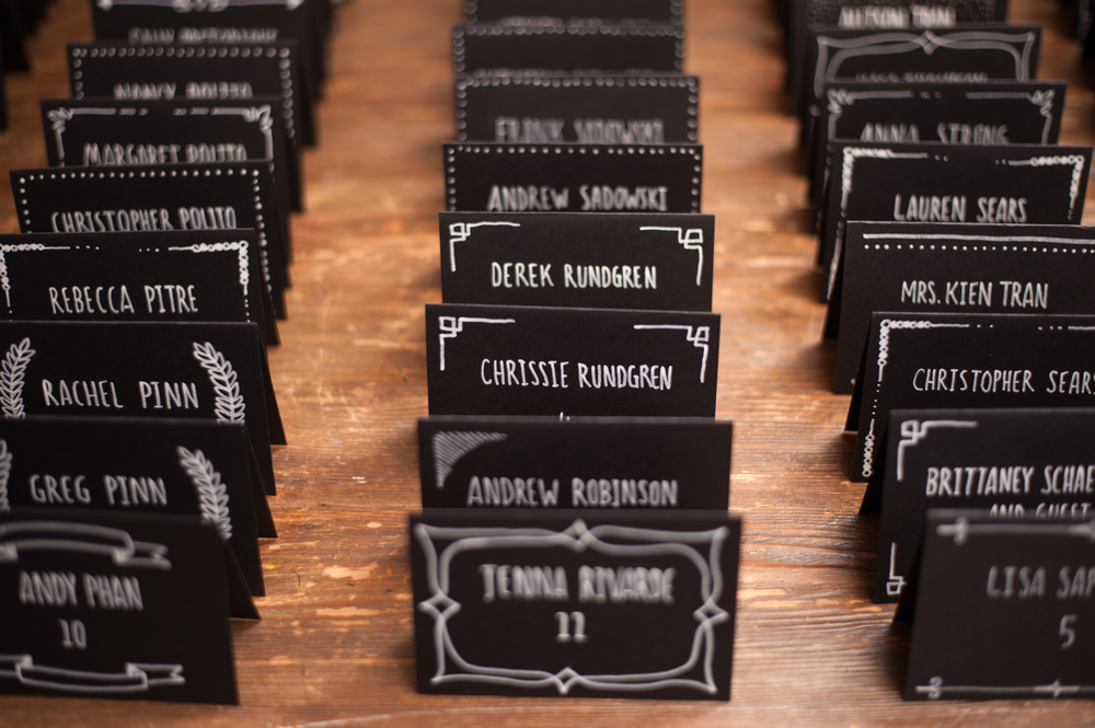 Black & White Escort Cards Hand Drawn