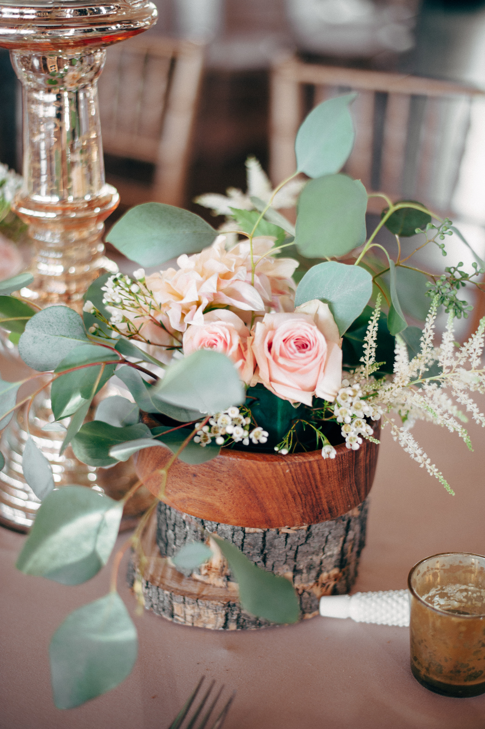 Rustic Wood Slice Wedding Centerpiece