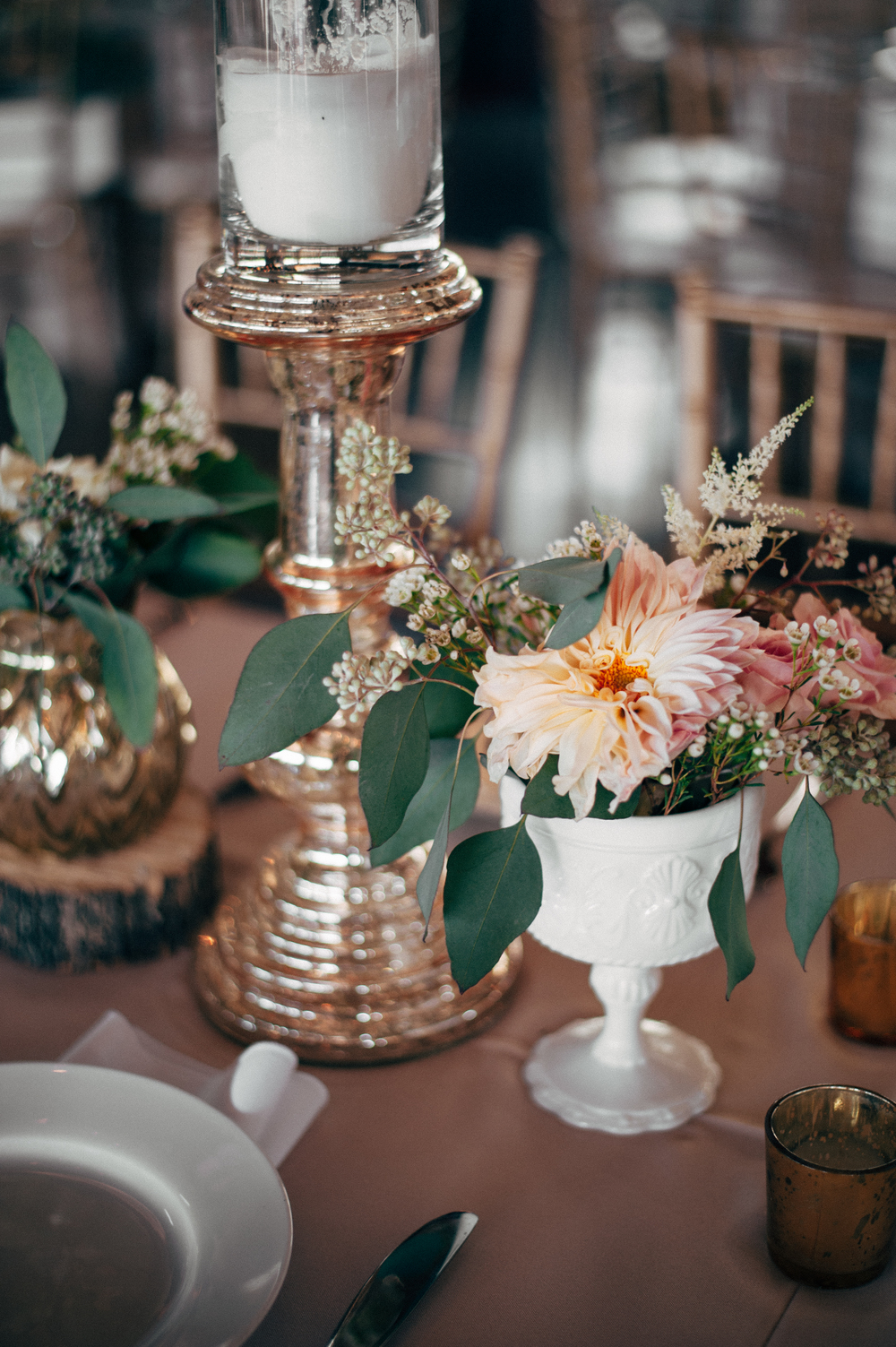 Mercury glass + milk glass wedding tablescape
