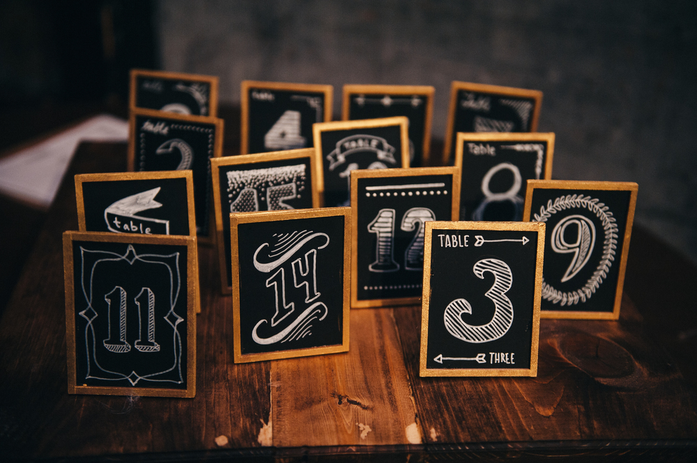 Black & White Wedding Table Numbers Hand Drawn