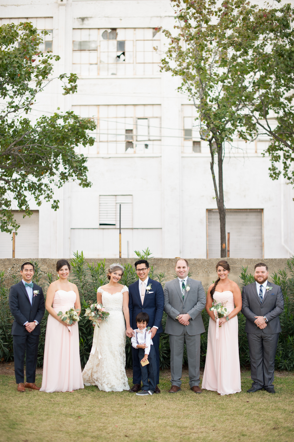 Pink, Navy, Gray bridal party