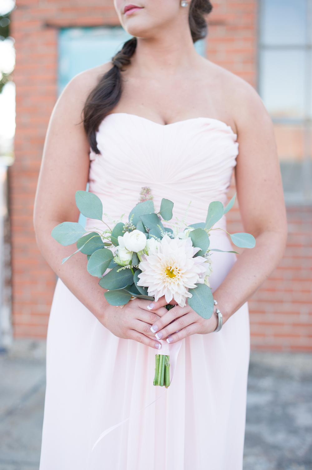 Pink Bridesmaid Organic Peach White Bouquet
