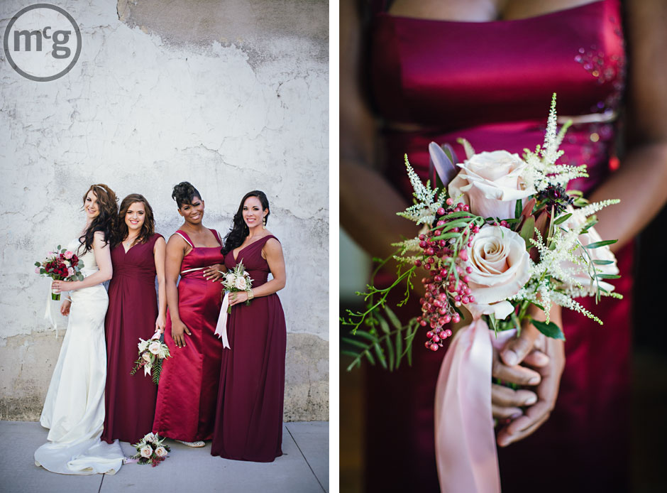 Floor-length red bridesmaid dresses; pink green bouquet