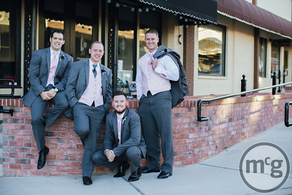 Groom & groomsmen Gray Suits Pink Vest