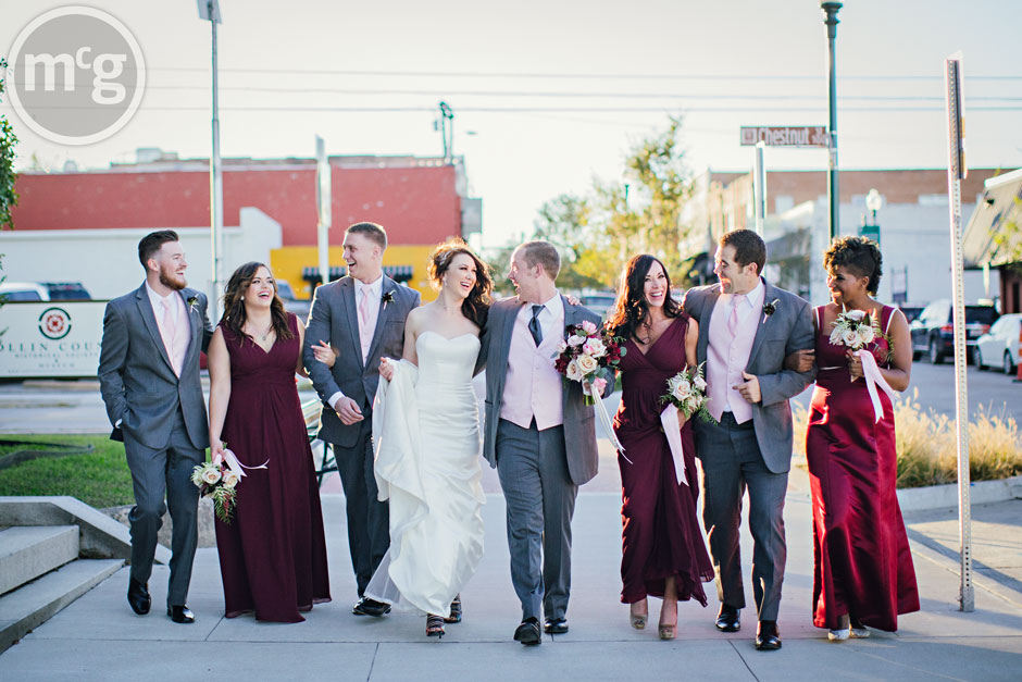 Fun wedding party shot downtown McKinney