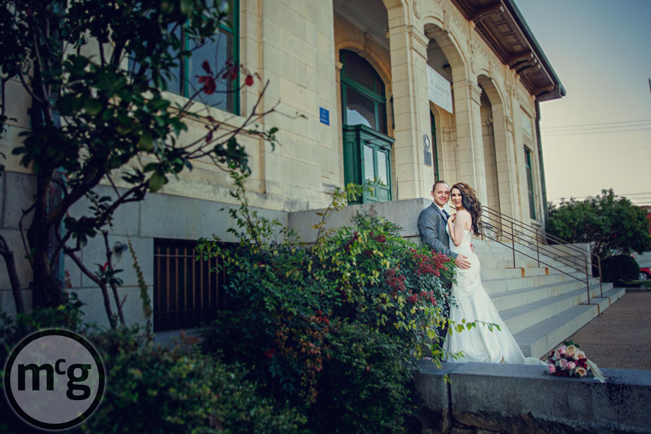 Downtown McKinney Bride & Groom Portrait