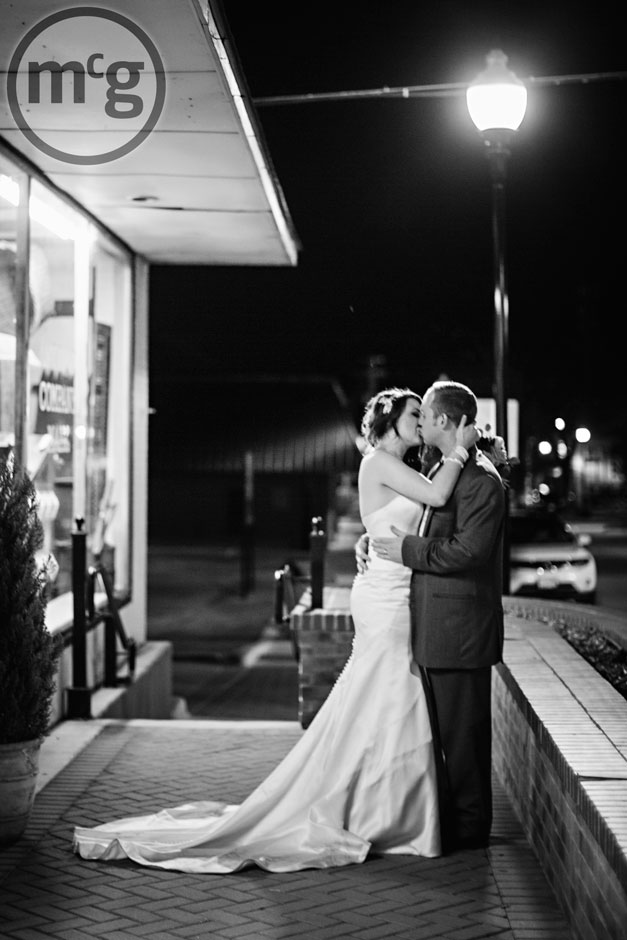 Bride & Groom Kissing in the Dark
