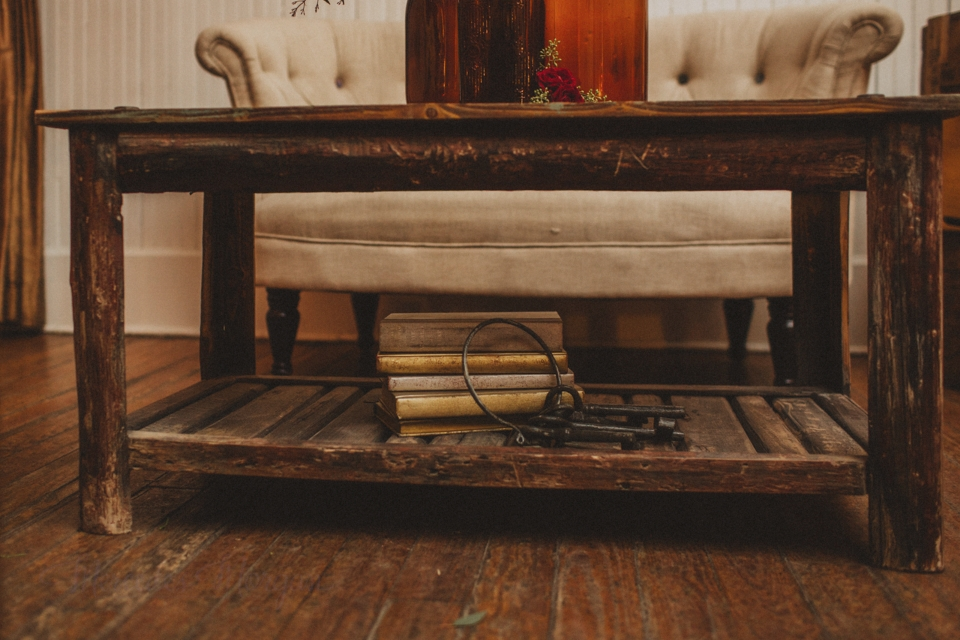 Rustic coffee table lounge grouping for wedding