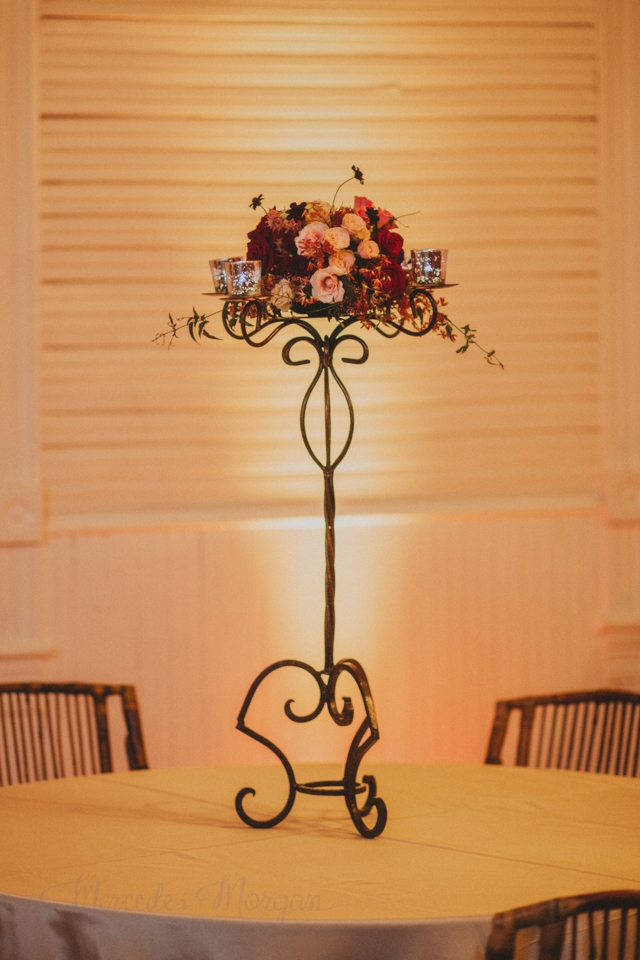 Candelabra Marsala Red Wedding Centerpiece