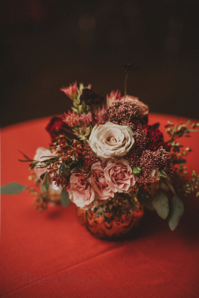 Red Gold Peach Wedding Centerpiece